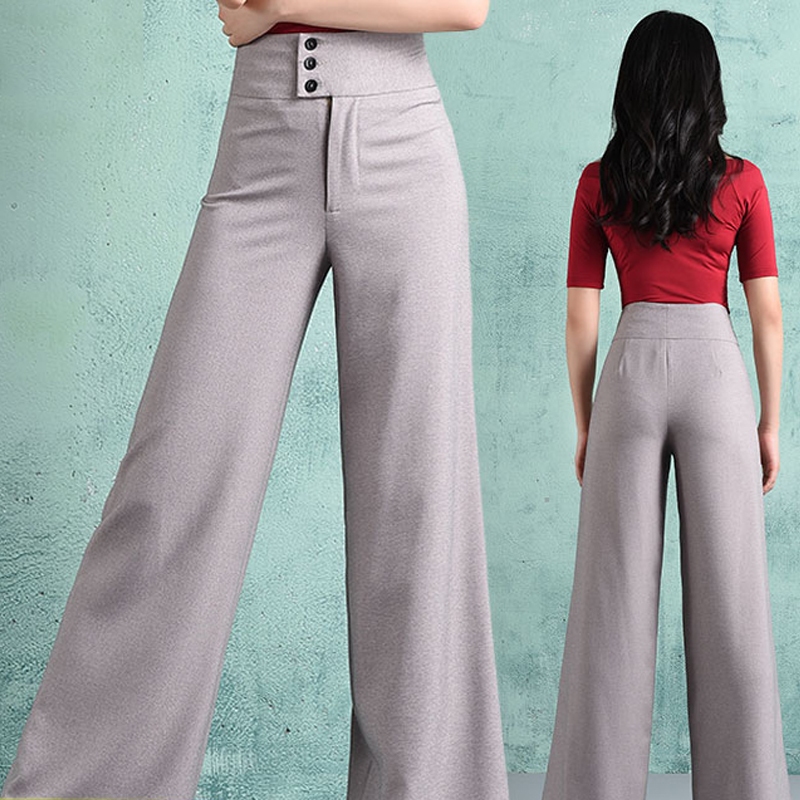 Women Latin Dance Pants Gray Buttons Ballroom ChaCha Tango GoGo Practice Competitive Performance Stage Dancewear Pant BL1599