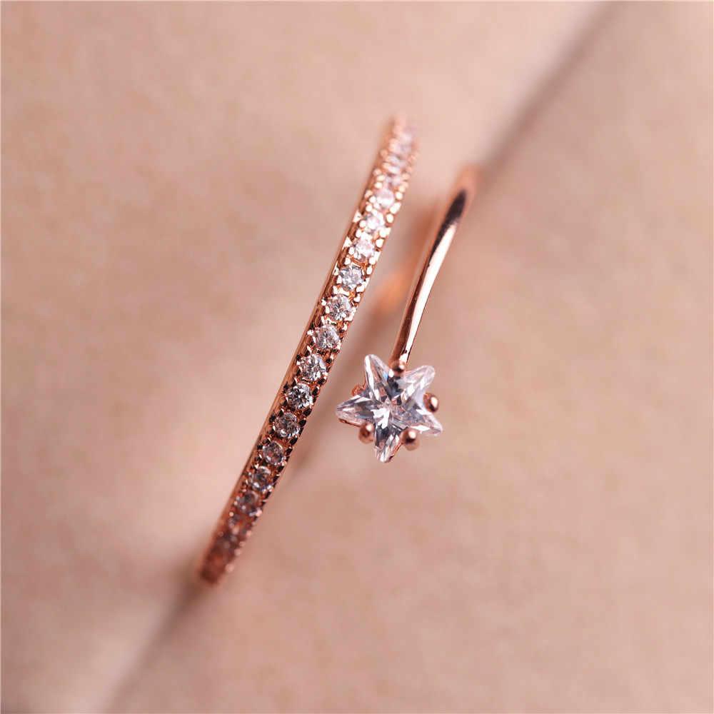 Neue Hohe Qualität Kristall Stern Ring für Frauen Einstellbar Rose Gold Farbe Ringe Band Schmuck