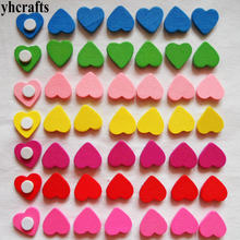 50PCS/LOT.Colorful wood hearts stickers,Kids toys,scrapbooking kit,Early educational DIY.Kindergarten crafts.Valentines crafts(China)