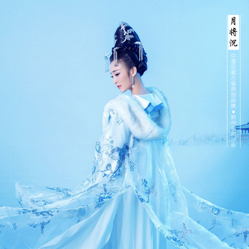 Yue Jiang Chen Blue Elegant Tang Empress Costume with Hair Accessory Thematic Photography Costume Hanfu for Women Fairy Costume han dynasty empress wu zetian cosplay hair empress hair tang empress hair chinese ancient hair for women