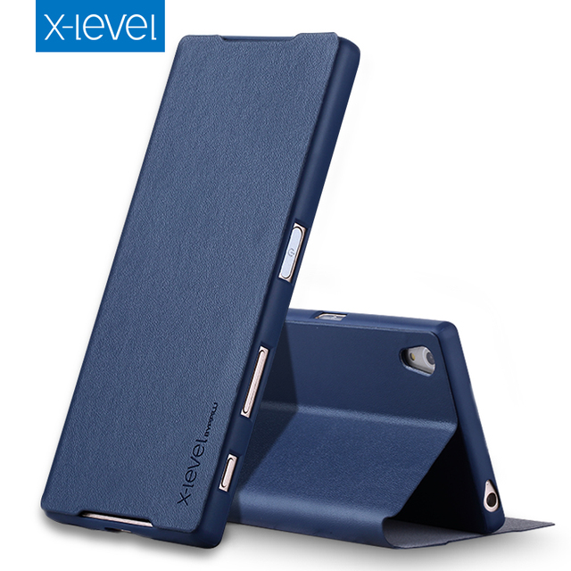 online retailer 77dca 44dc6 US $9.49 25% OFF|X Level Luxury Business Style PU Leather Case for Sony  Xperia Z5 Flip Cover for Sony Z5 E6603 E6653 Stand Case Ultra thin Cover-in  ...