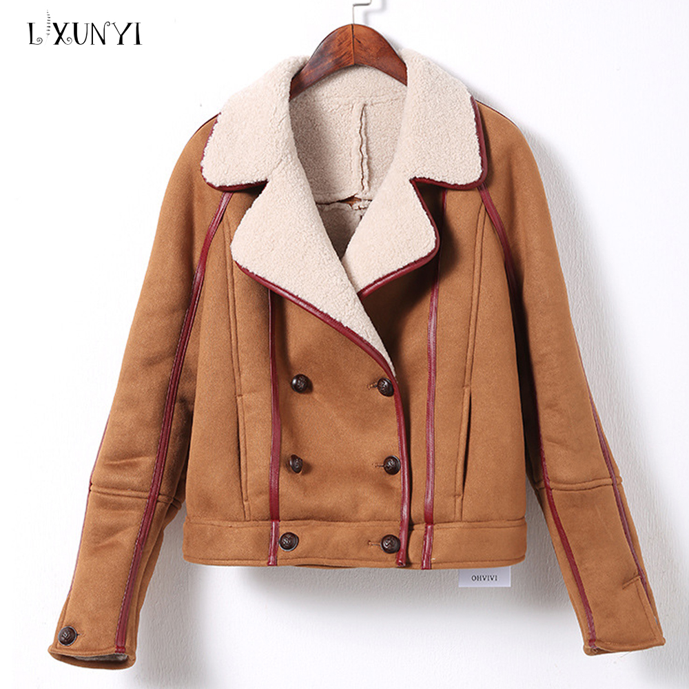 LXUNYI Thick   Leather     Suede   Jacket Women Double Breasted Turn Down Collar Warm 2018 Autumn Women Fashion Faux   Suede   Coat Female
