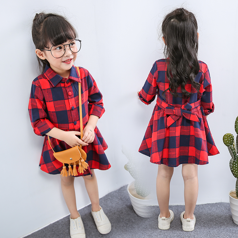 new fashion children clothing child clothes cotton long sleeve baby girl dress kids girls princess red plaid dresses with belt children s spring and autumn girls bow plaid child children s cotton long sleeved dress baby girl clothes 2 3 4 5 6 7 years