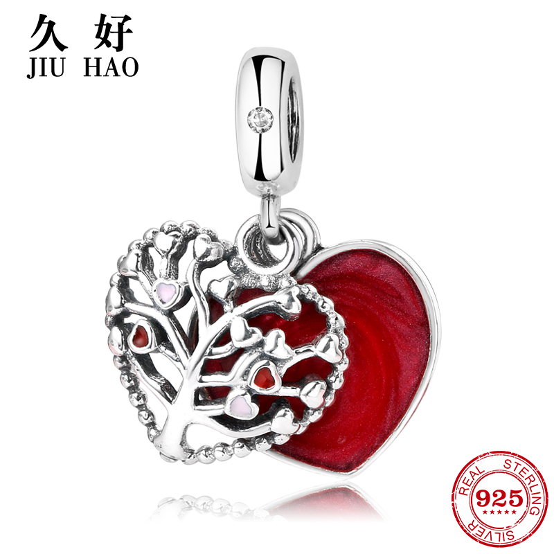 New 925 Sterling Silve Tree of Life Red Love heart pendant Fit Original Pandora Charms Bracelet women accessories Jewelry цена