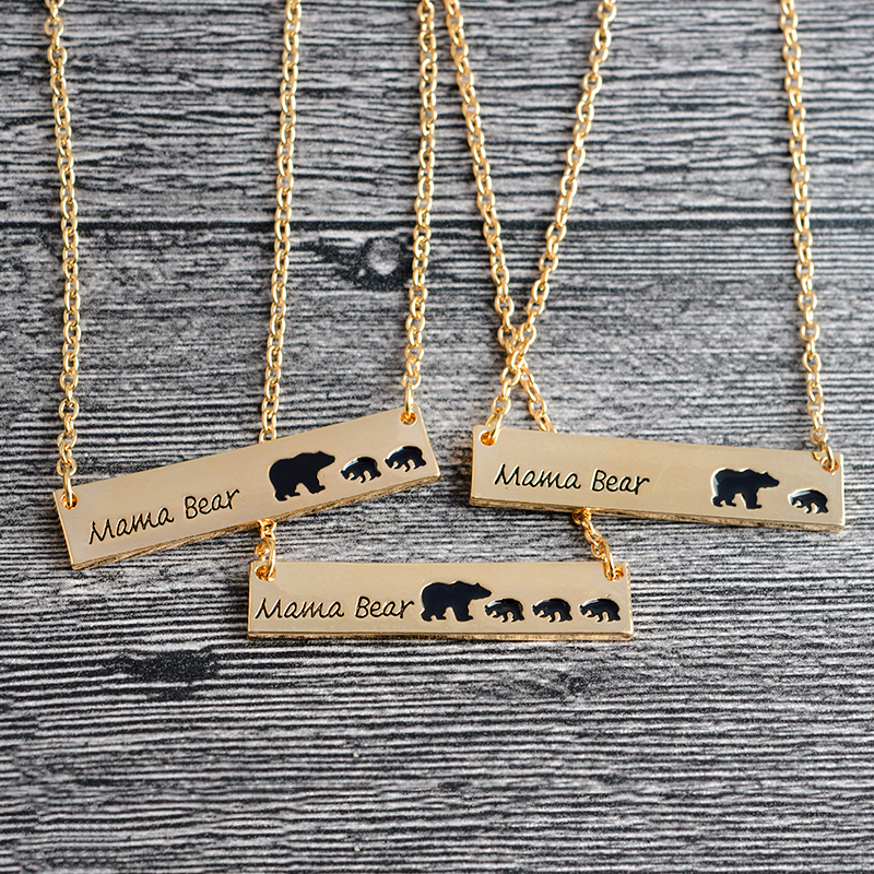 QIHE JEWELRY Bar Necklace Mama Bear Necklace New Mom Necklace Gifts For Mom Gift For Wife Mother's Day Jewelry