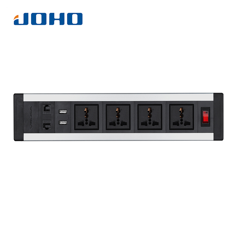 JOHO Desktop Sockets 4 sockets 2 RJ45 Dual USB Charger Switch 250V 10A/16A for Portable Computers Desktop PC Data Cable