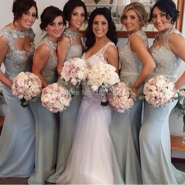 Top Ing Mermaid Long Satin Silver Bridesmaid Dresses High Collar A Line Lace Gray