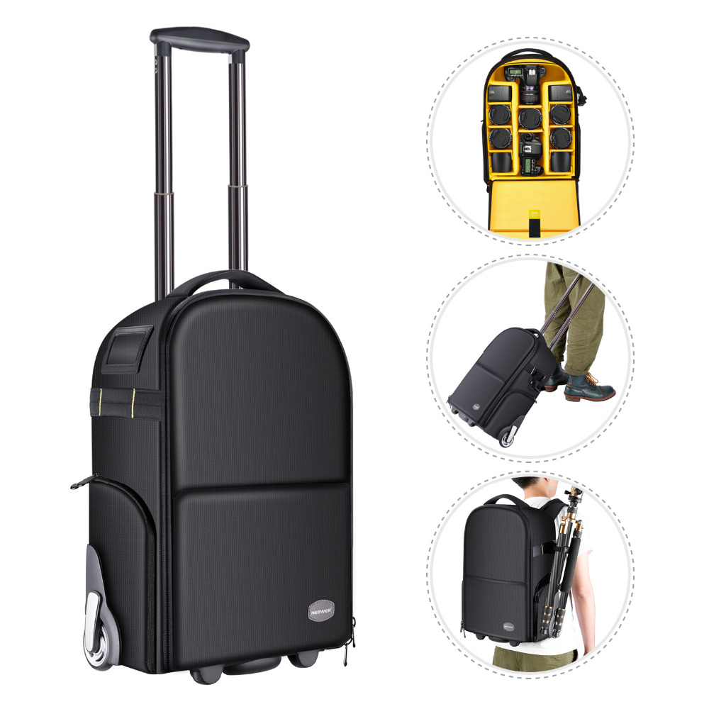 Neewer 2-in-1 Camera Backpack Luggage Trolley Case with Double Bar Anti-shock Detachable Padded Compartment Hidden Pull BarNeewer 2-in-1 Camera Backpack Luggage Trolley Case with Double Bar Anti-shock Detachable Padded Compartment Hidden Pull Bar