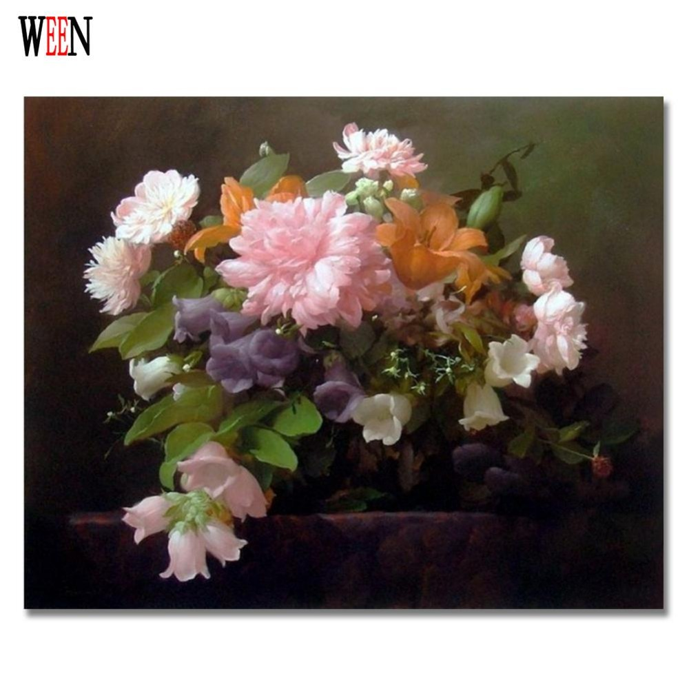 Fashional Coloring by Numbers Flower Oil Painting on Canvas Wall Lovely DIY Digital Decorative Pictures