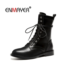 цены ENMAYER Woman Ankle Boots Boots Size 34-39 Autumn Winter Cow Leather Shoes women Basic boots Narrow band Lace up CR1755