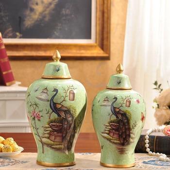 European style luxury furnishings ceramic vase Crafts Ornament retro floral room Home Furnishing flower simulation