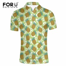 FORUDESIGNS Polo Ralph Men Clothes Summer Fruits Print Polo Comfortable Turndown Collar Male Polo Short Sleeved Nylon Polo Shirt