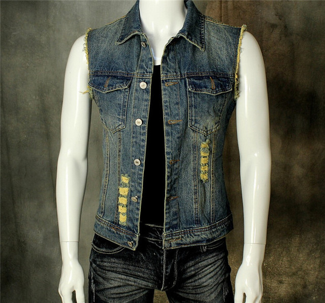 Denim Vest Men With Jeans Vest  Men Sleeveless Denim Jacket Men Denim Jeans Vest Jacket Vest  Plus Size M-2XL