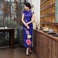 2017 Общество С Ограниченной Китайский Qipao Tavas Магазин Ретро Длинное Платье Cheongsam Шоу Улучшилось Ветер Этап Дефиле Банкетный Этикет Щель Юбка