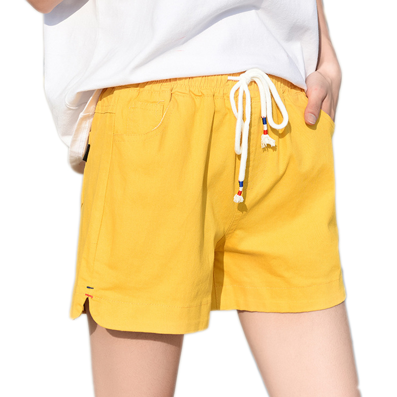 2018 European and American summer   shorts   women female high waist linen   shorts   women plus size loose elastic waist   shorts