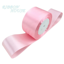 (25 ярдов/рулон) 2 »(50 мм) розовый одно лицо атласная лента лямки украшения подарок на Рождество лентами