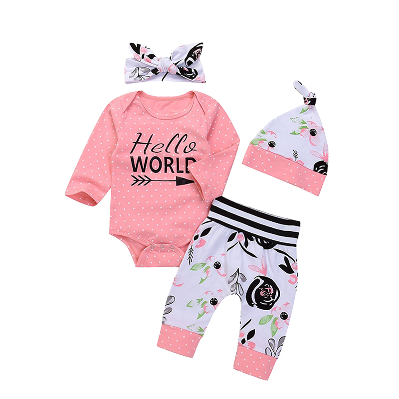 Infant Baby Girl Floral Outfit Set Long Sleeve Bodysuit Jumpsuit Long Pants With Hat and Headband Clothes ship from USA