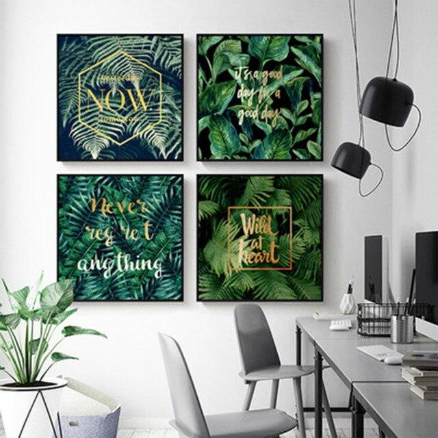 Schlafzimmer Dunkelgrun #19: Grün Tropischen Pflanzen Goldenen Buchstaben Laub Dunkelgrün Vitalität  Moderne Kunst Home Schlafzimmer Muster Dekorative Malerei