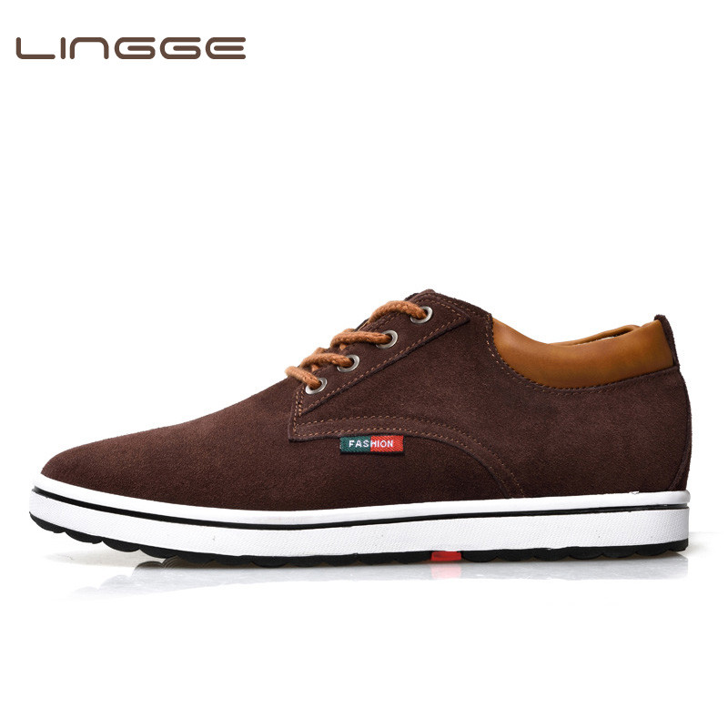 LINGGE Brand 2018 Men Casual Shoes 6CM Height Increasing England Suede Leather Fashion Men Sneakers with Platform Breathable suede