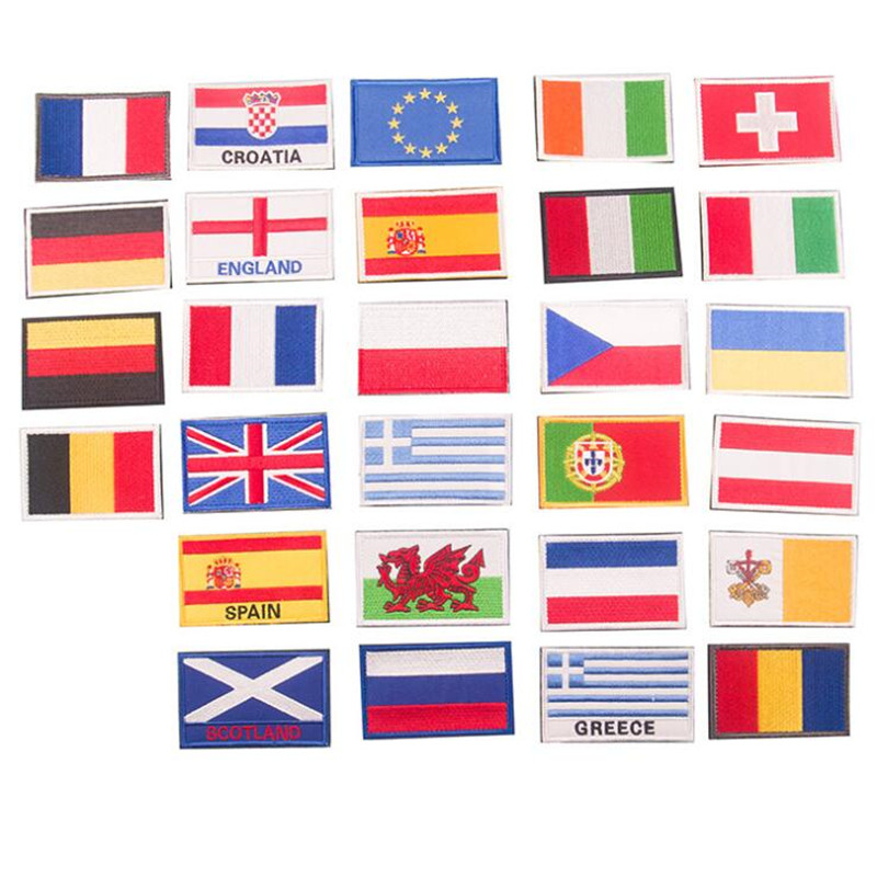 Many Country Flag Badge Repair Patch Embroidered Iron On Patches For Clothing Close Shoes Bags Badges Embroidery DIY in Patches from Home Garden