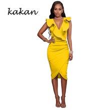 Kakan hot sexy womens dress V-neck ruffled sleeveless hip fashion casual cross