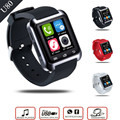 U80 bluetooth smart watch pantalla táctil multi idioma con función de podómetro sleep monitor de reloj para android smartphone