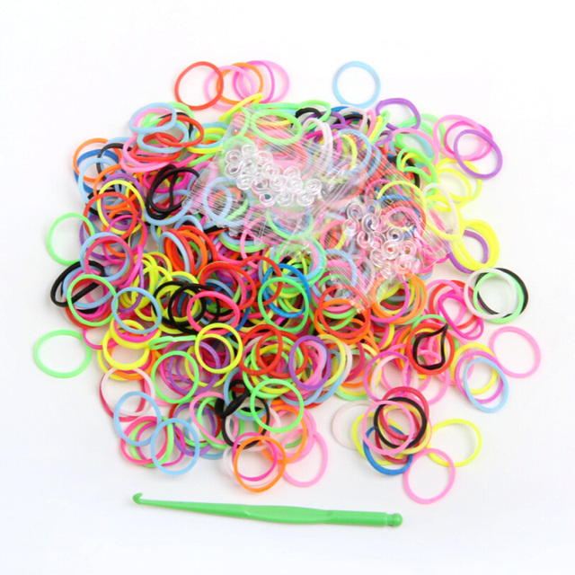 JINSE 600 bands+ 24 S-Clips+1 Hook/lot High-Quality Colorful loom bands for make