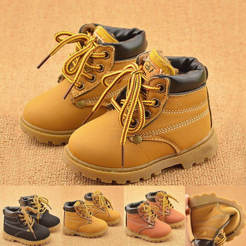 Новые модные зимние для маленьких мальчиков и девочек Calzado Botas ninas для маленьких девочек зимние кожаные сапоги детские теплые зимние сапоги ...