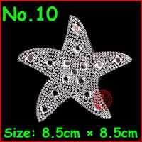 1 pc Hot Fix Rhinestones Star Starfis Patches Motif Iron On Patch Badge Crystal Stone Applique Women Wedding Dress Clothes Patch