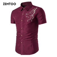 zemtoo Brand 2018 Men Shirt Solid Black Shirt Slim Fit Casual Male Retro Embroidery Shirts Short Sleeve Mens Fashion Shit ZE0491