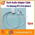 10pcs Micro usb to 30 pin dock Charger adapter Audio Output Cable for Samsung Galaxy S4 S3 Note 2 N7100 HTC LG to iphone 4 dock