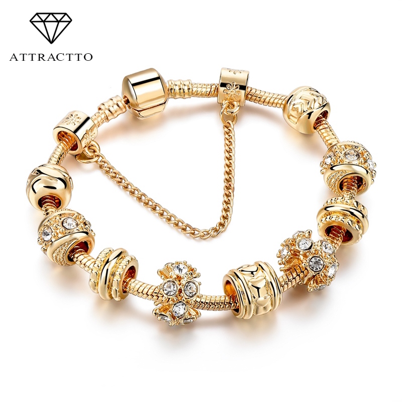 ATTRACTTO NEW Luxury Gold Crystal Bracelets For Women Heart Charm Bracelets &Bangles With Crystal Beads DIY Jewellery SBR160241