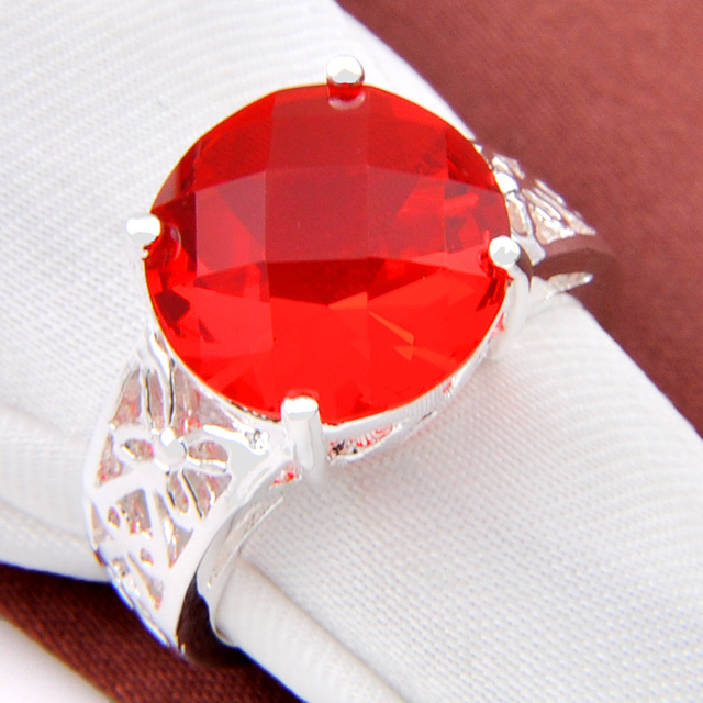 Promotion Jewelry Luckyshine Round Fire Created Quartz Silver Plated