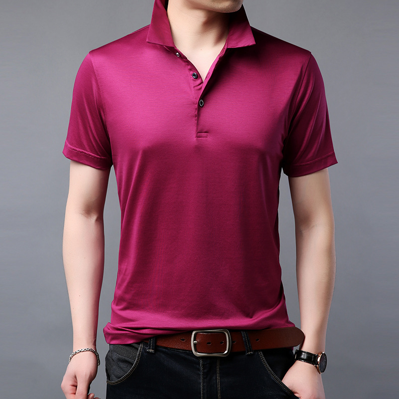 Silk Solid Polo Shirt Men 2019 Summer Casual Short Sleeve Shirt Men Top Quality Slim Fit Breathable Business Polos Male Clothes