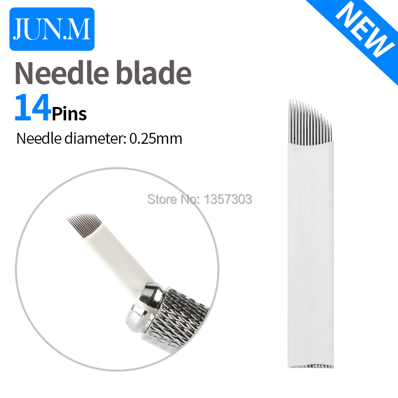500PCS Permanent Makeup Manual Eyebrow Tattoo Needles Blade 14 Pin Needles For 3D Embroidery Microblading Tattoo Pen atomus 50pcs 12 14 pin permanent makeup eyebrow tattoo blade microblading needles for 3d embroidery manual tattoo pen machine