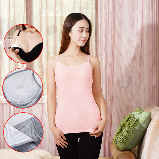 4b98da3a561b7 2Pcs/Lot Maternity Camisole Cotton Padded Nursing Tank Tops Breast Feeding  Vest Clothes for Pregnant Women Cami Top 6 Colors