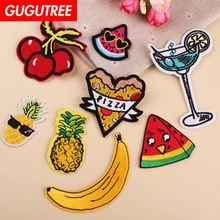 GUGUTREE embroidery watermelon pineapple banana patches pizza beverages badges applique for clothing YX-299