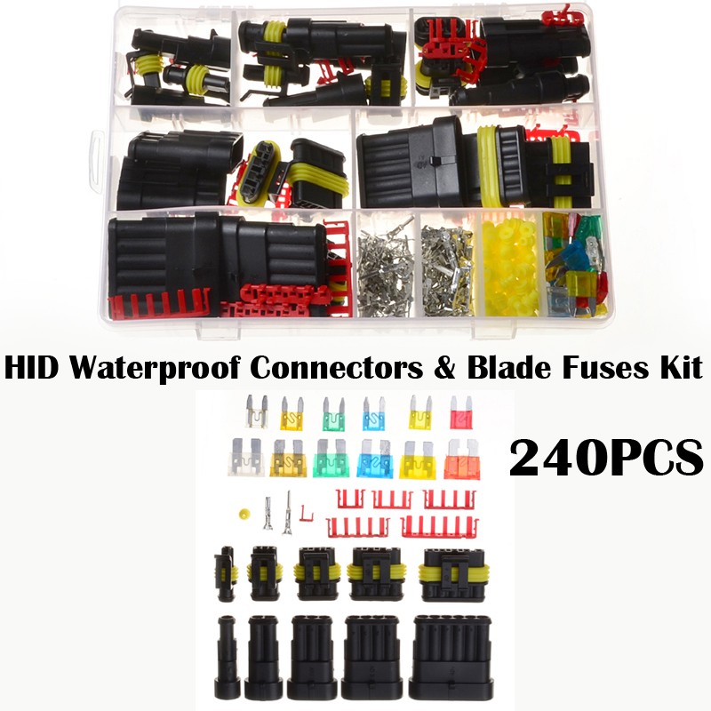 7Colors 240PCS HID Waterproof Terminals Electrical Wire Connectors and Vehicle Blade Fuses Automotive Mini Fuse Set vehicle automotive blade fuse holder with a line of high quality waterproof fuse holder