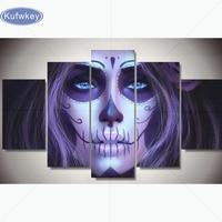 Full Square Diamond Embroidery Skull Woman 5 pcs 3d mosaic 5D Diy Diamond Painting Cross Stitch Halloween pattern Wall stickers