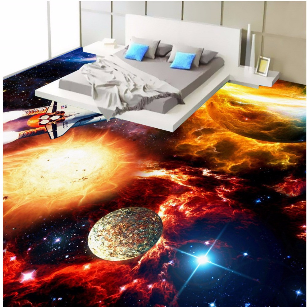 Free Shipping 3D stereo custom spacecraft floor wallpaper mural outdoor commercial store flooring painting free shipping 3d stereo entrance hallway custom wallpaper vertical version european oil painting wallpaper mural
