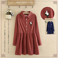 Japanese Spring Vintage Retro Flower Embroidery Corduroy Dress Women Solid Cotton Long Sleeve Mori Girl Kawaii Dresses V008