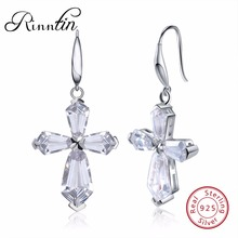 Rinntin 100% S925 Sterling Silver Cross Dangle Earrings Luxury AAA White Cubic Zircon Engagement Wedding Female Jewelry TSE51