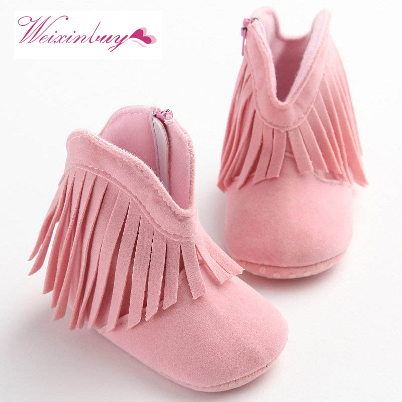 Infant Soft Soled Anti-slip Boots Booties Baby Boots Girl Boy Kids Solid Fringe Shoes