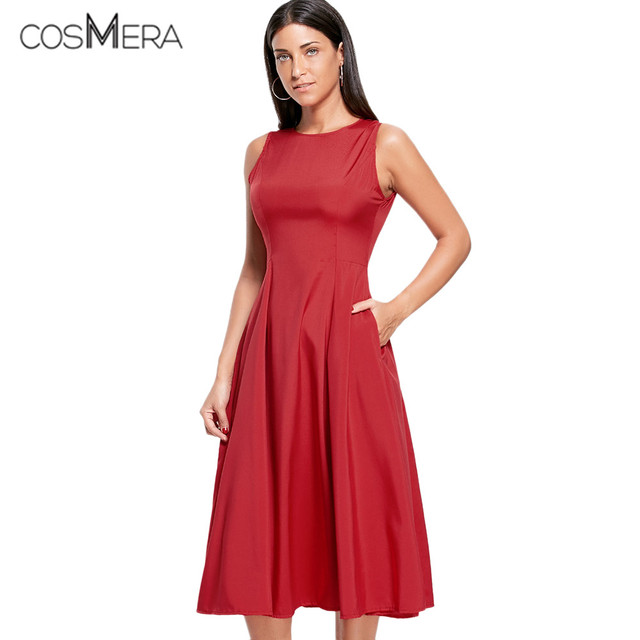 c4153d4dc376 CosMera A Line Sleeveless Semi Formal Plain Dress Maxi Party Dress Solid  Red Black Brief Style Women Summer Dress 2018 Ladies