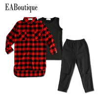 EABoutique Winter Street Fashion Long Red Plaid Jacket With Vest Hole Designs Pants Girls Clothes Set