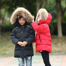 Boys Winter Jacket Children Duck Down Long Section Jacket girls Warm Coat Kids Down & Parkas Coat Fur Hooded Outerwear Clothing girls duck pattern hooded jacket