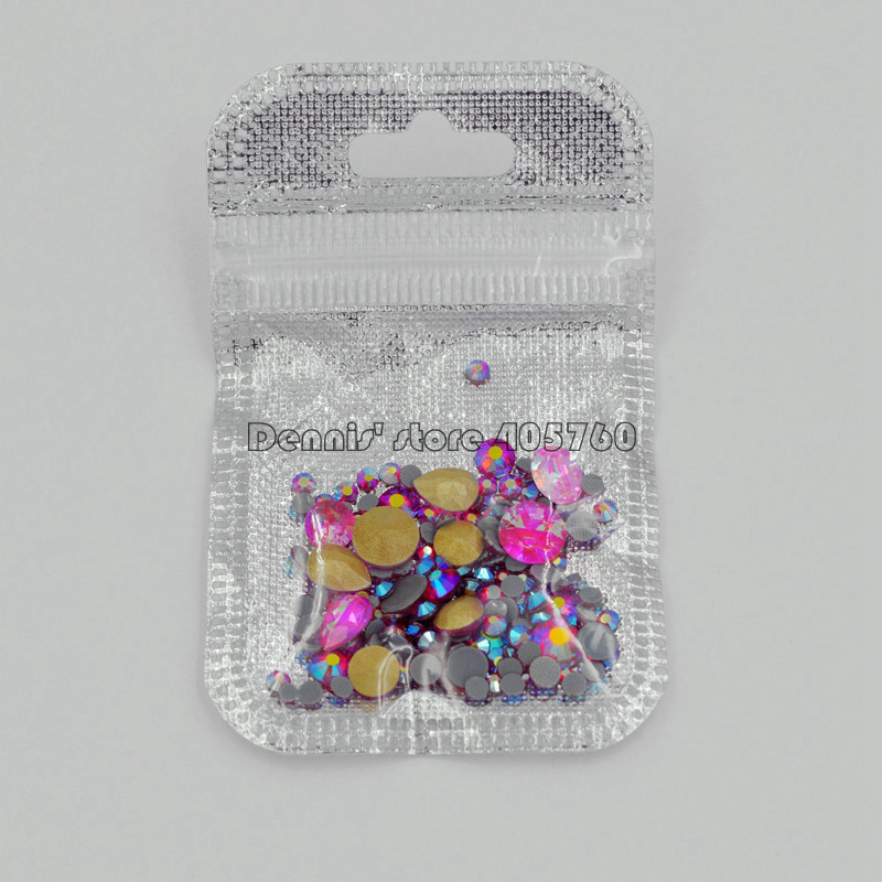 Купить с кэшбэком Wholesale 23 Colors Mix Sizes Mix Shape Glitter 3D Diamond Facet Flat Back Rhinestones Acrylic Nail Art Crystal Gems Decals