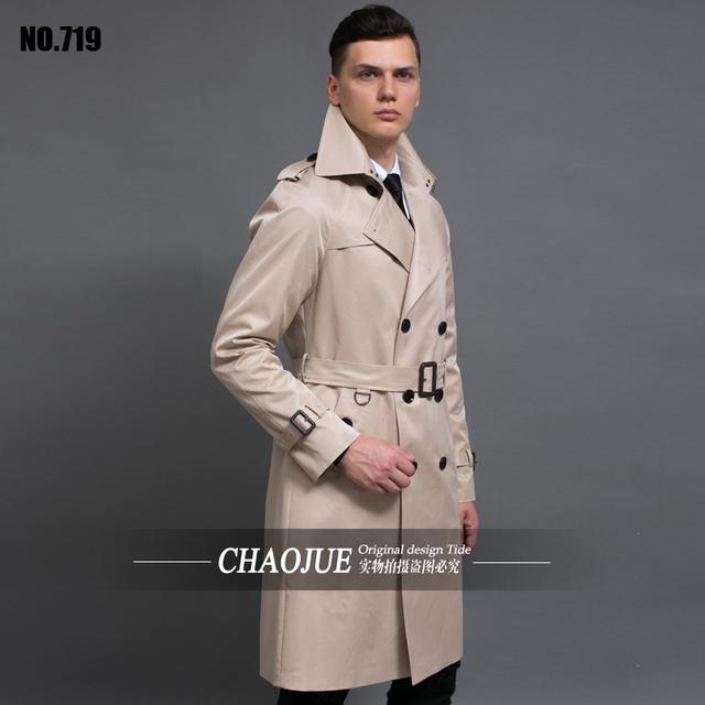 Personalizar Alta Calidad Británica Delgado para hombre de doble botonadura larga trinchera abrigo Europa trenchcoat chaqueta masculina abrigo trench envío gratis