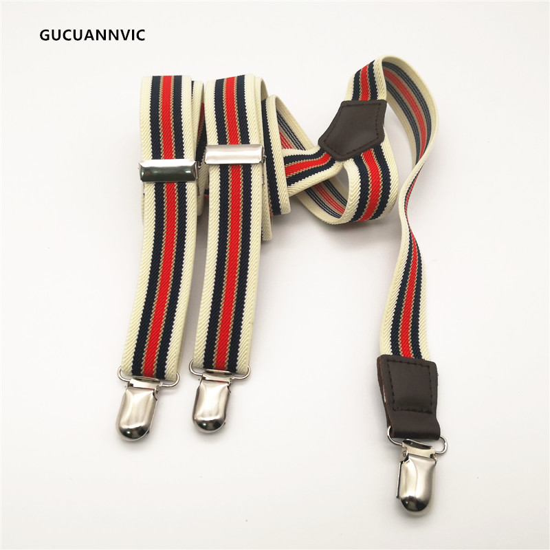 New Blue Red Striped Suspenders Women And  Men Suspender Mens Braces Personalized Decorative 3 Clip Shoulder Strap