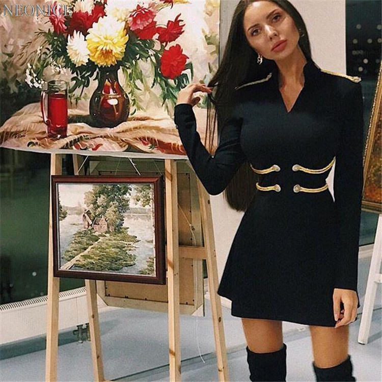 A 2018 Socialite Sexy Bandage ligne D'anniversaire Boutons Loisirs Élastique Discothèque Ruches Robe Hiver Noir De Mode Femme Fête Or Nouvelle 3q4RjA5L